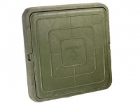 Люк полимер-песчаный квадратный 685х685мм h60 лаз (550х550мм) зеленый 30кН (3т)