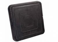 Люк полимер-песчаный квадратный 685х685мм h60 лаз (550х550мм) черный 30кН (3т)