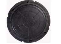 Люк полимер-песчаный D760мм h90 лаз 590мм черный (5т)