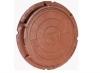 Люк полимер-песчаный D750мм h60 лаз 550мм коричневый (3т) с 2-мя ушами